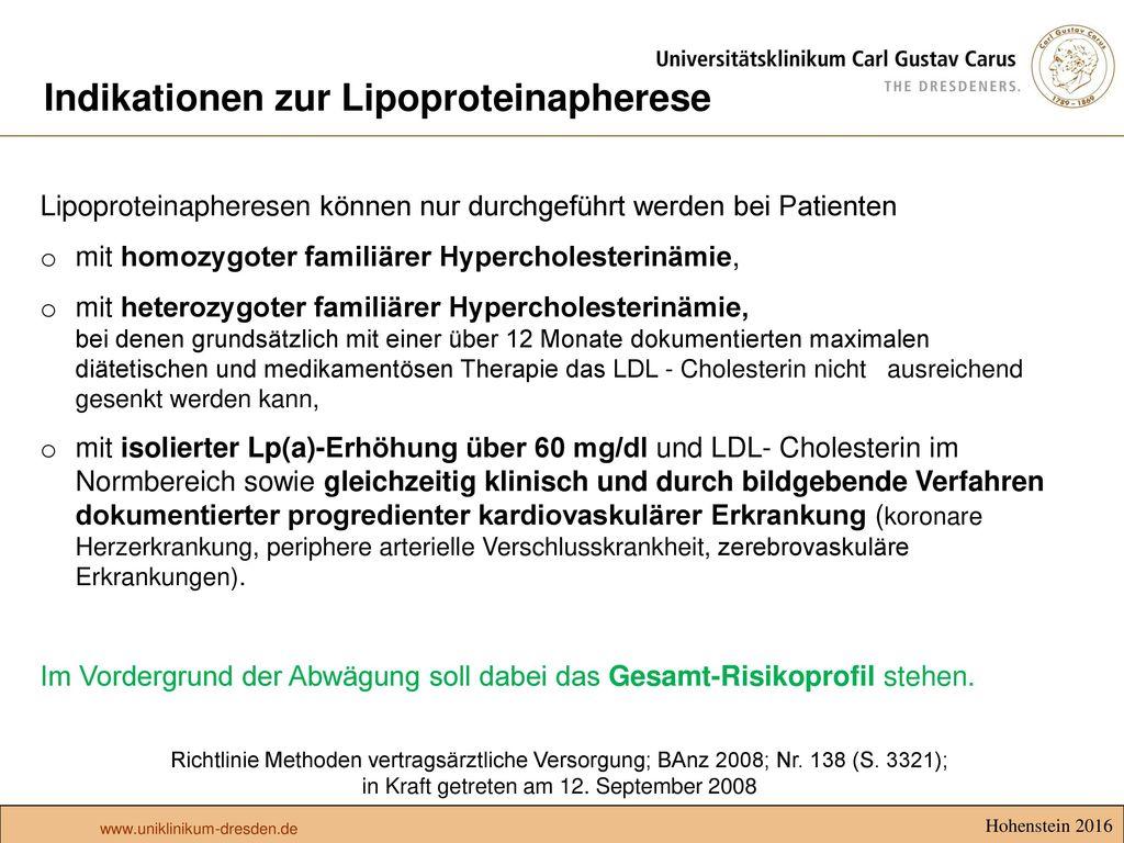 Indikationen zur Lipoproteinapherese