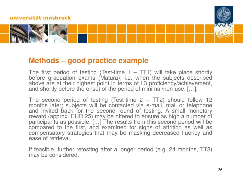 Methods – good practice example