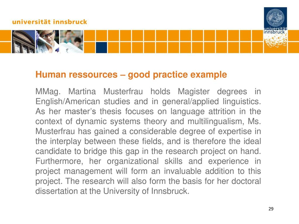 Human ressources – good practice example