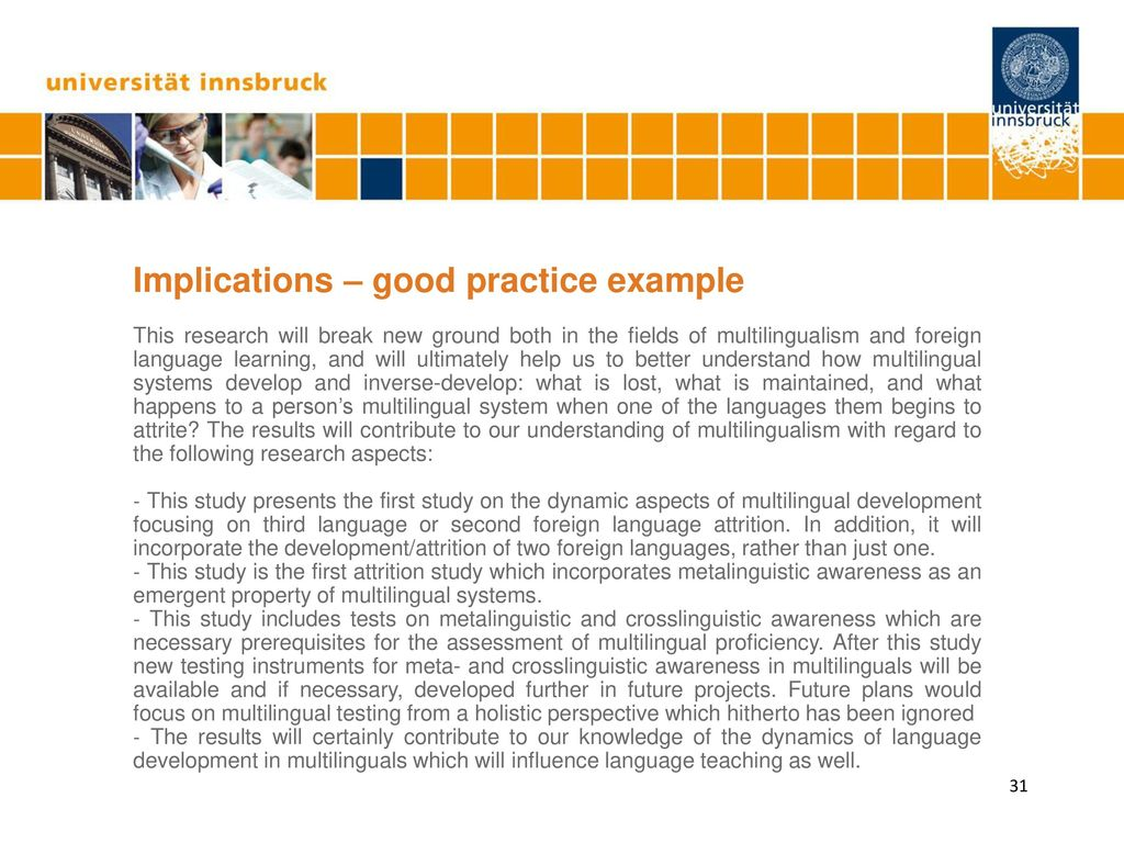 Implications – good practice example