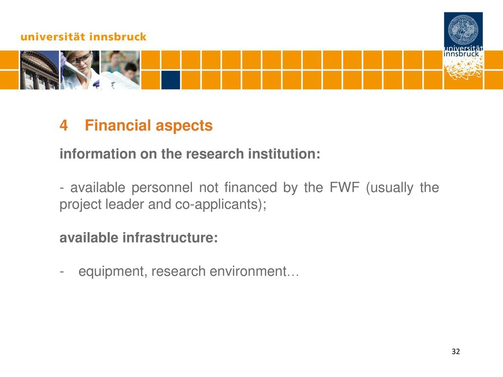 4 Financial aspects information on the research institution: