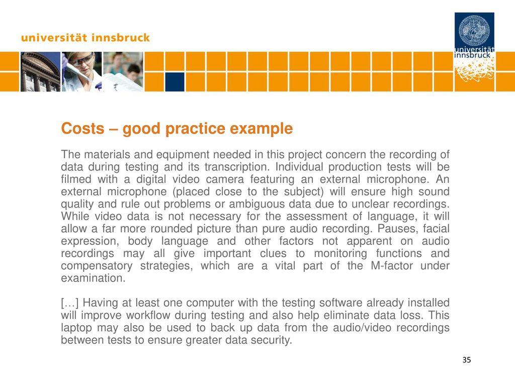 Costs – good practice example