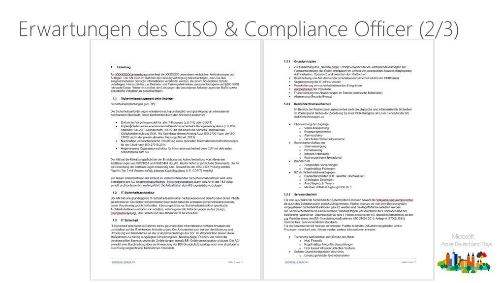 Erwartungen des CISO & Compliance Officer (2/3)