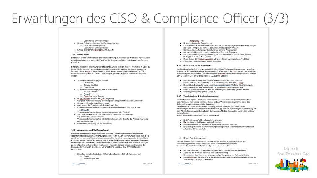 Erwartungen des CISO & Compliance Officer (3/3)