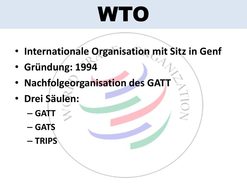 WTO Internationale Organisation mit Sitz in Genf Gründung: 1994