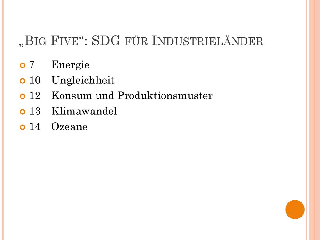 """Big Five : SDG für Industrieländer"