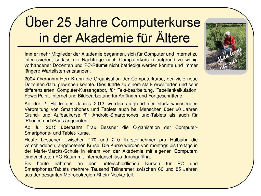 Über 25 Jahre Computerkurse in der Akademie für Ältere