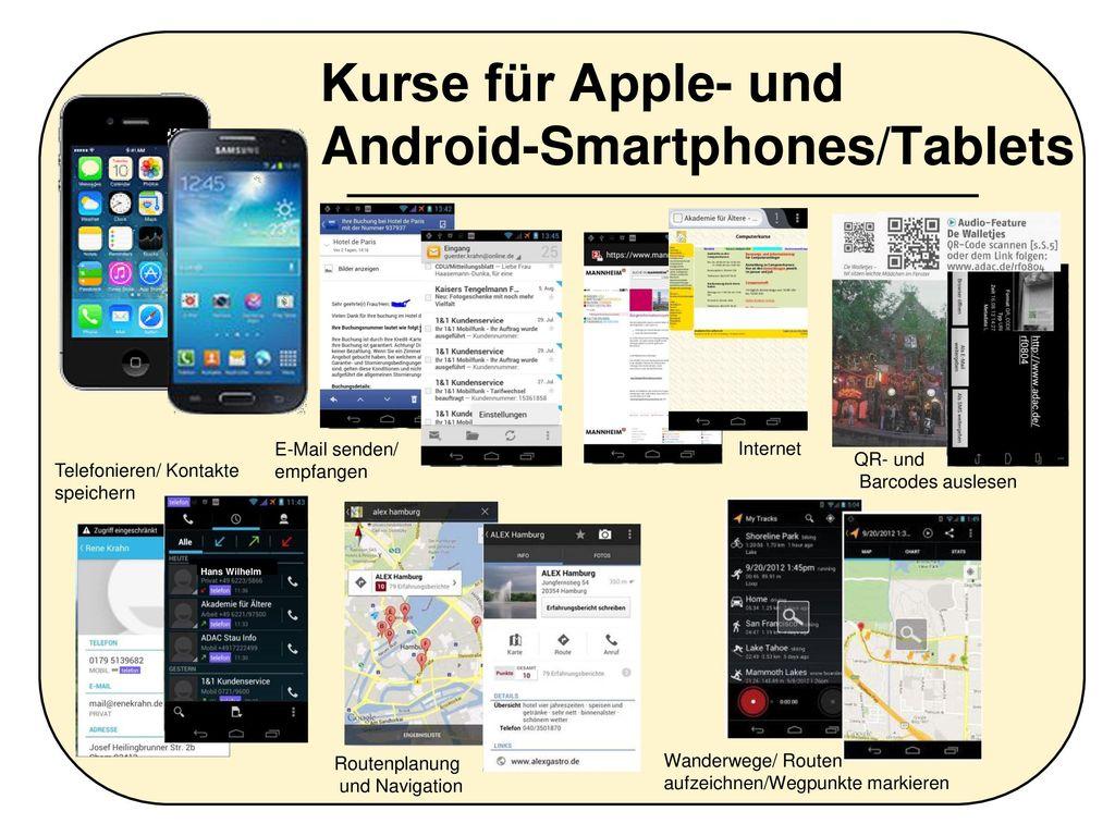 Kurse für Apple- und Android-Smartphones/Tablets