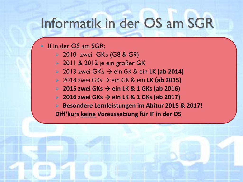 Informatik in der OS am SGR