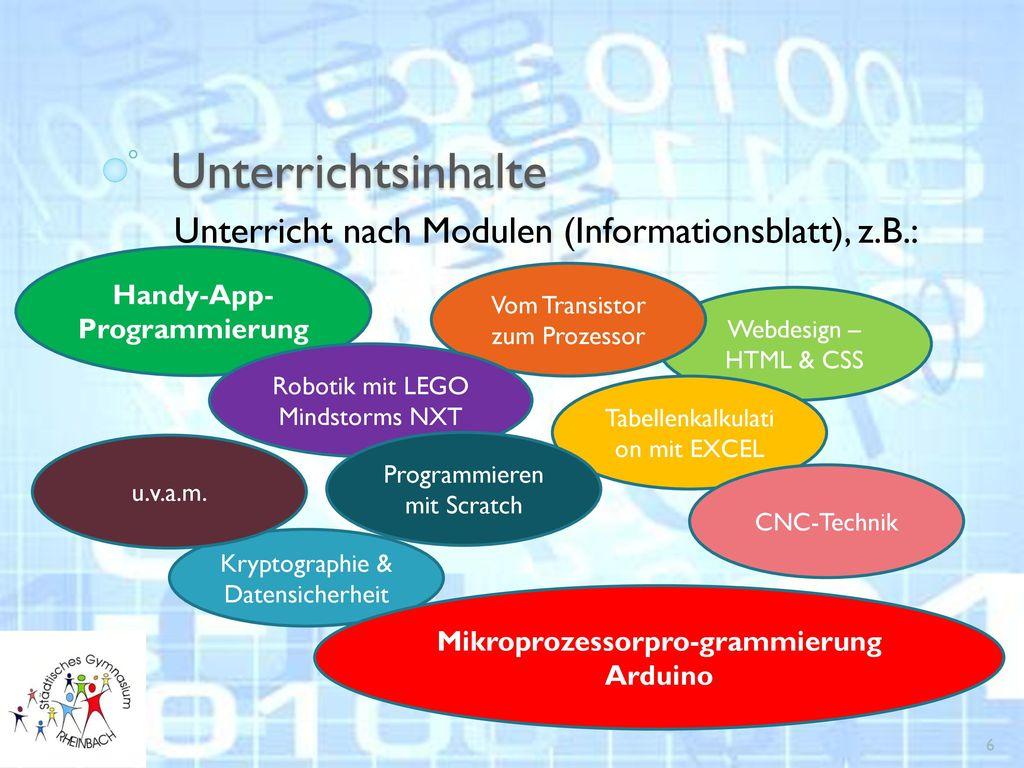 Unterricht nach Modulen (Informationsblatt), z.B.: