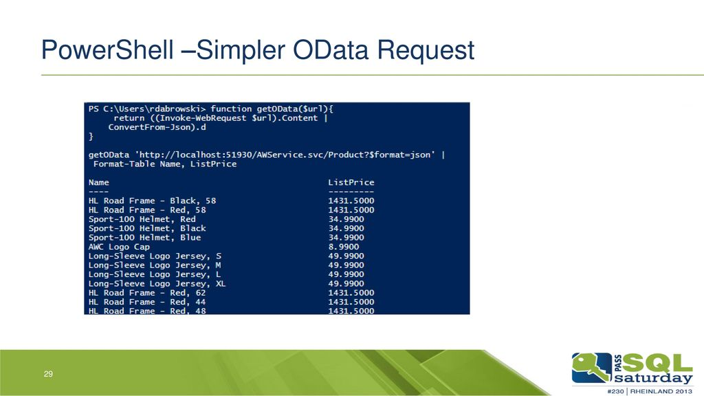 PowerShell –Simpler OData Request