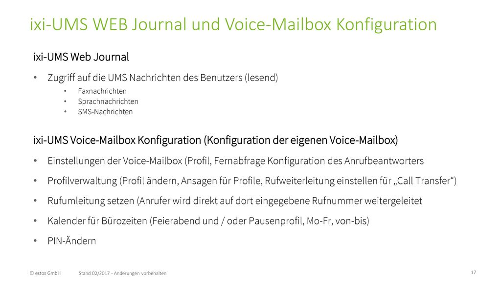 ixi-UMS WEB Journal und Voice-Mailbox Konfiguration