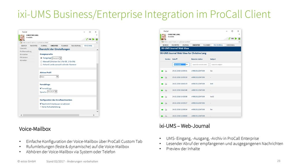 ixi-UMS Business/Enterprise Integration im ProCall Client