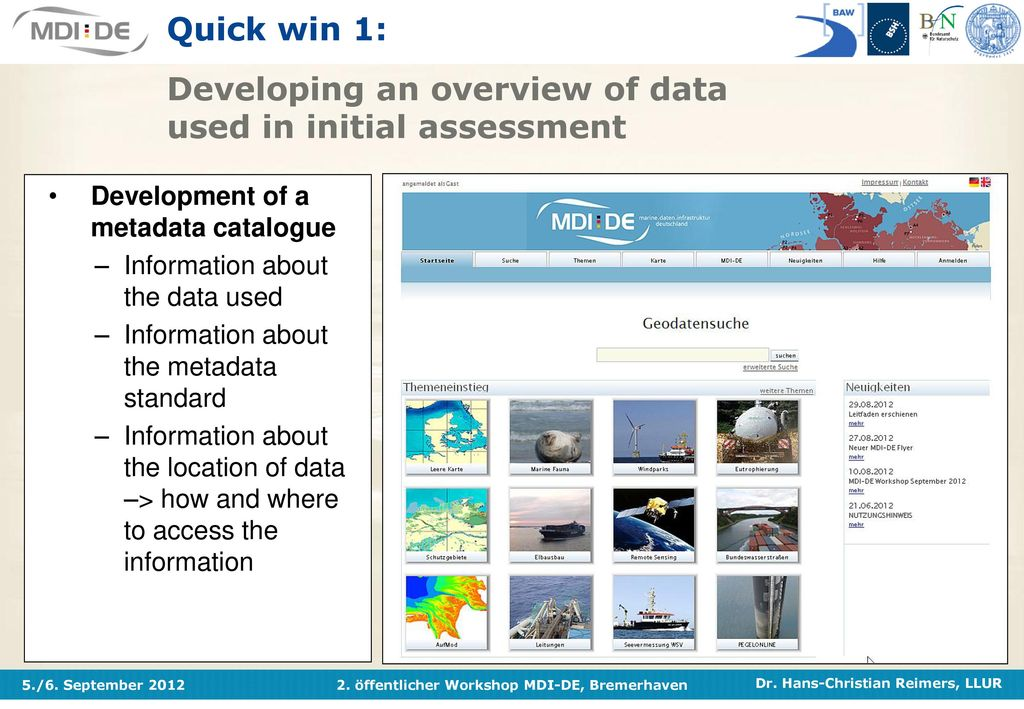 Quick win 1: Developing an overview of data used in initial assessment