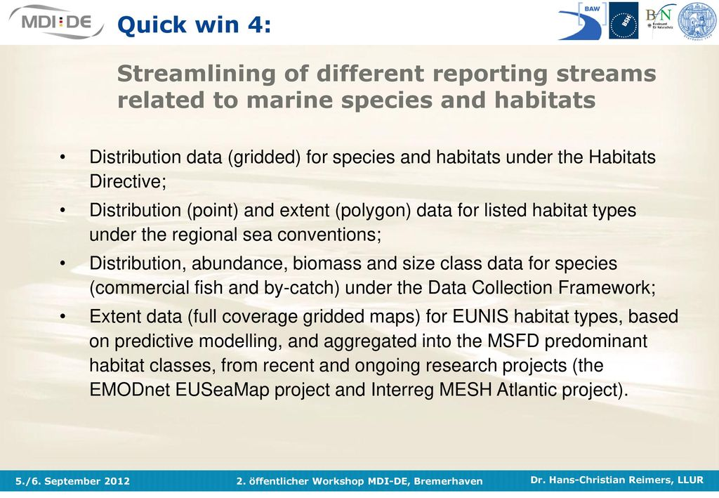 Quick win 4: Streamlining of different reporting streams related to marine species and habitats
