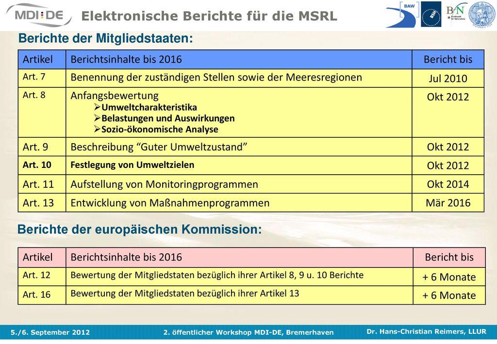Elektronische Berichte für die MSRL