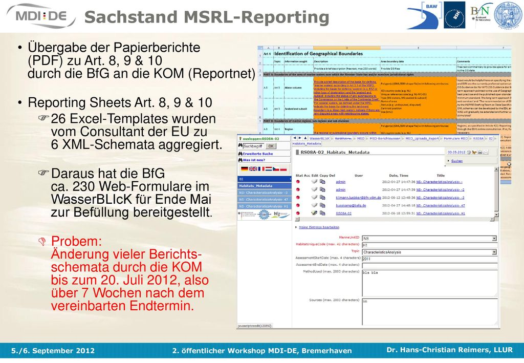 Sachstand MSRL-Reporting