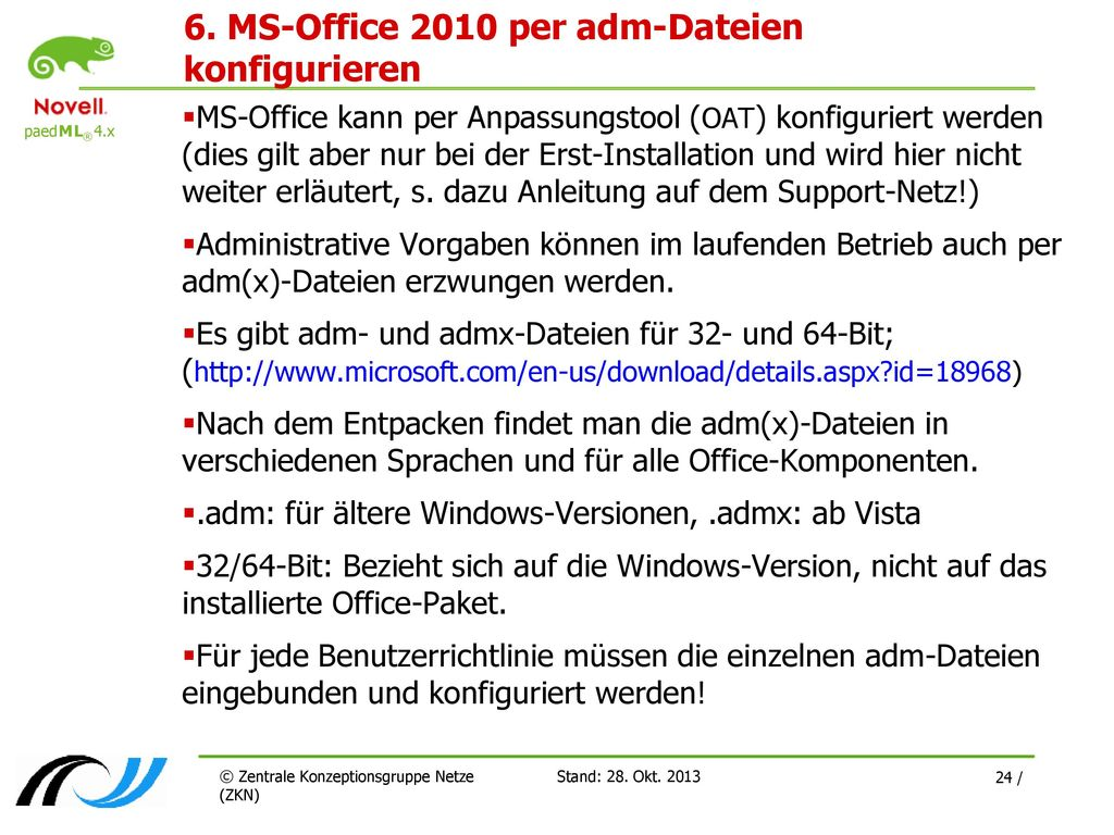 6. MS-Office 2010 per adm-Dateien konfigurieren