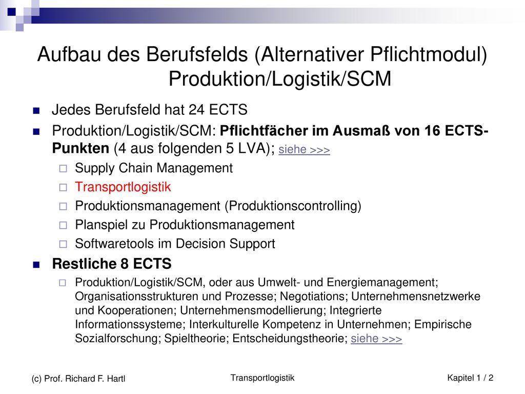 Aufbau des Berufsfelds (Alternativer Pflichtmodul) Produktion/Logistik/SCM
