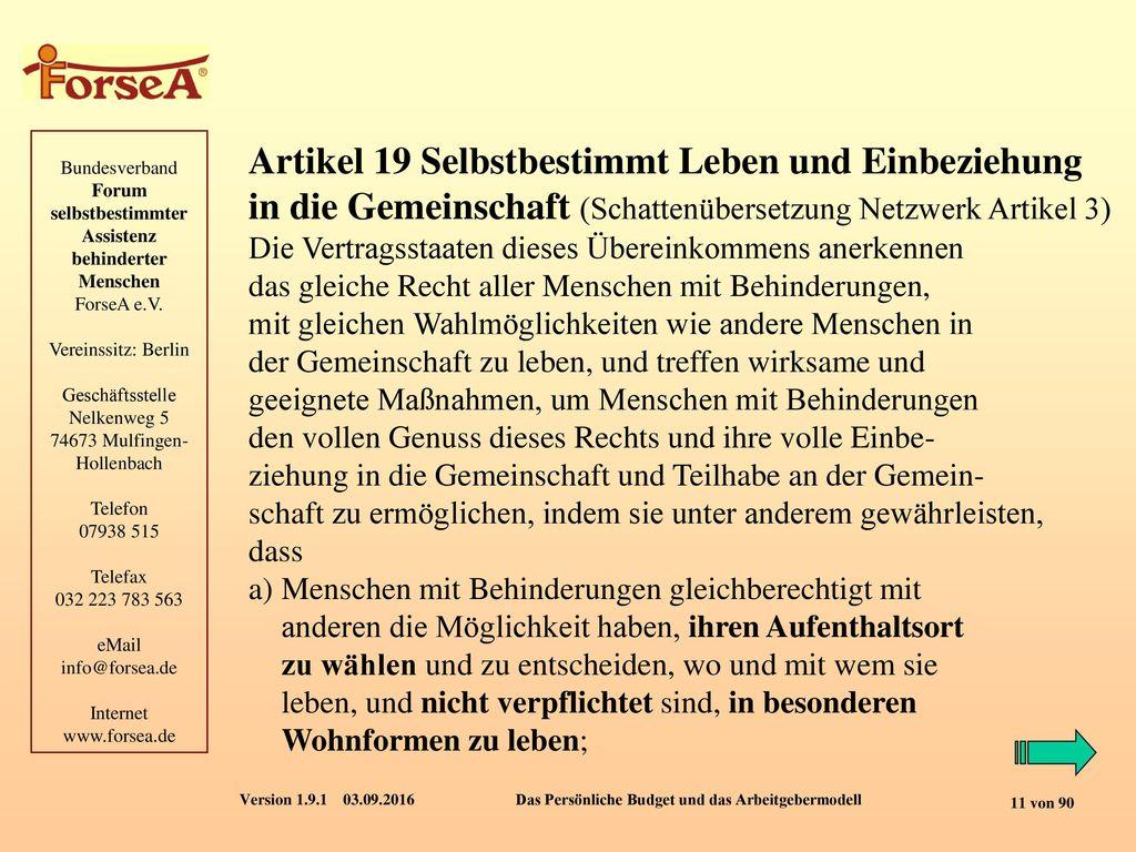 Artikel 19 Selbstbestimmt Leben und Einbeziehung