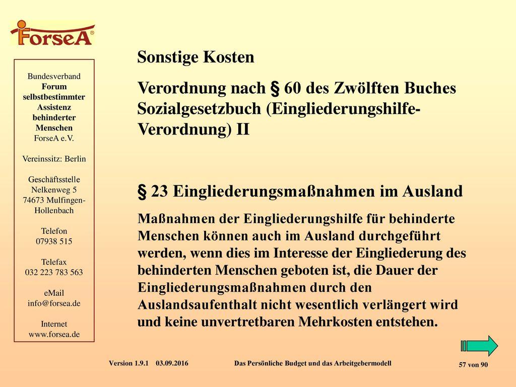 § 23 Eingliederungsmaßnahmen im Ausland