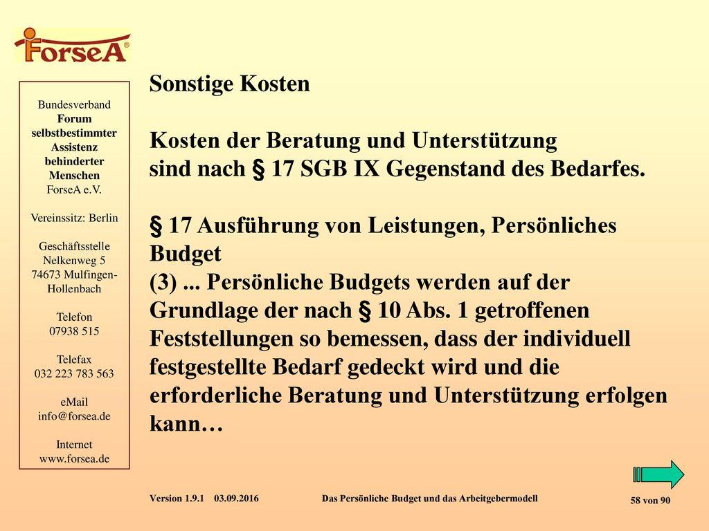 Sonstige Kosten Kosten der Beratung und Unterstützung. sind nach § 17 SGB IX Gegenstand des Bedarfes.