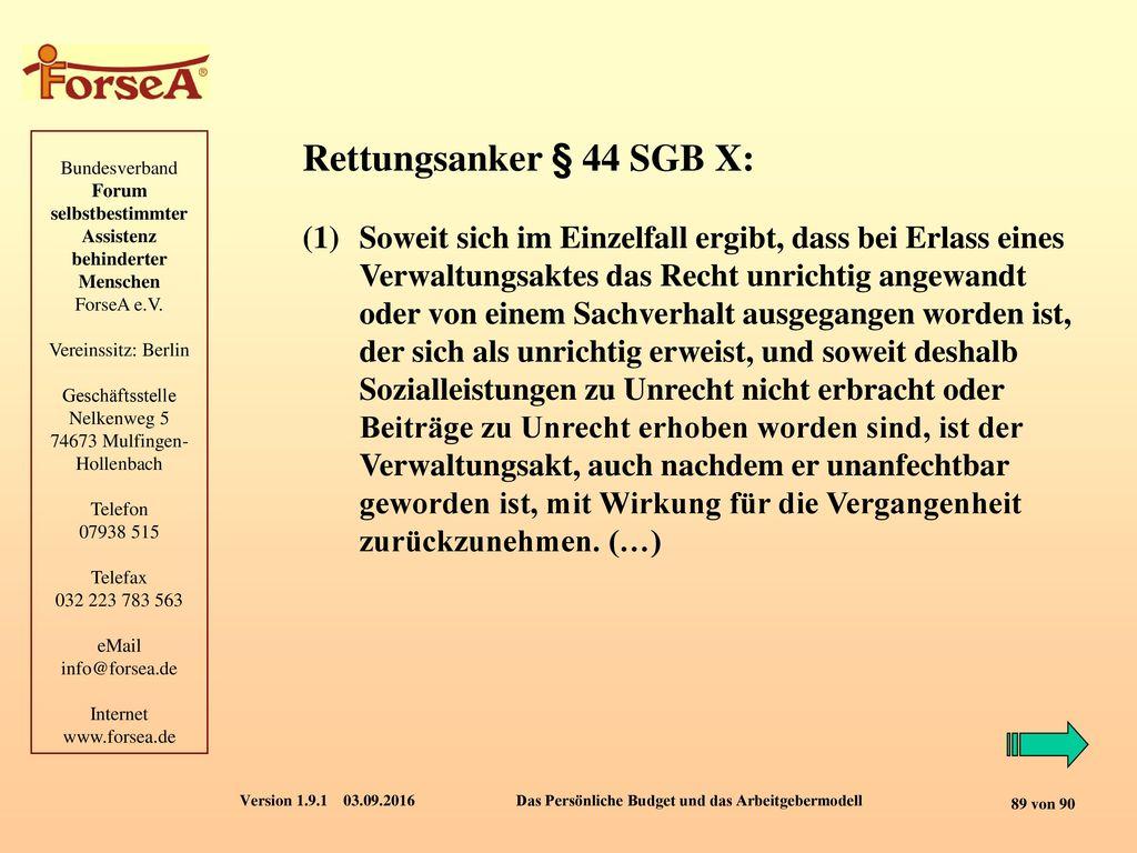 Rettungsanker § 44 SGB X: