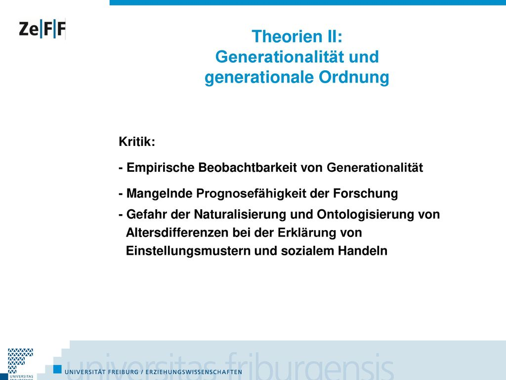 Theorien II: Generationalität und generationale Ordnung