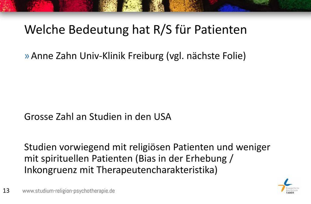 Welche Bedeutung hat R/S für Patienten