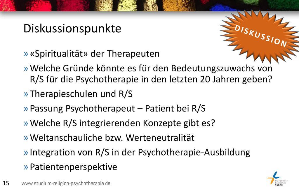 Diskussionspunkte «Spiritualität» der Therapeuten