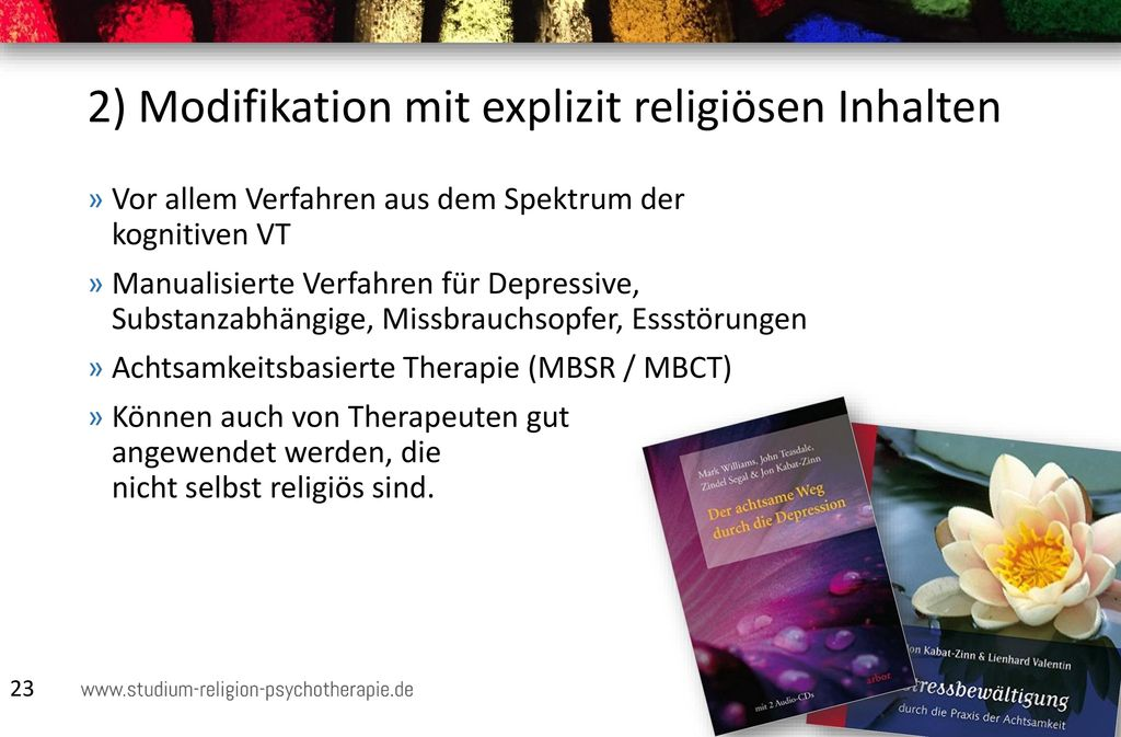 2) Modifikation mit explizit religiösen Inhalten