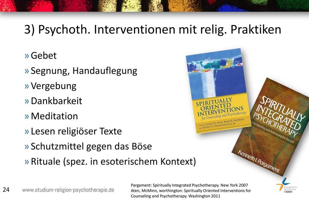 3) Psychoth. Interventionen mit relig. Praktiken