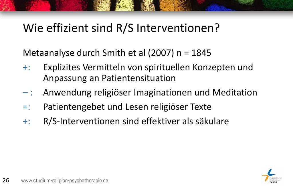 Wie effizient sind R/S Interventionen
