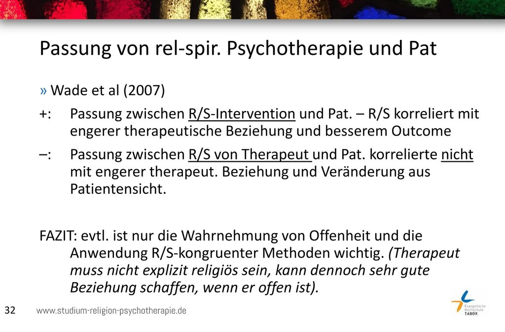 Passung von rel-spir. Psychotherapie und Pat