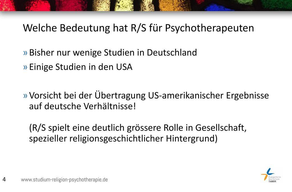 Welche Bedeutung hat R/S für Psychotherapeuten