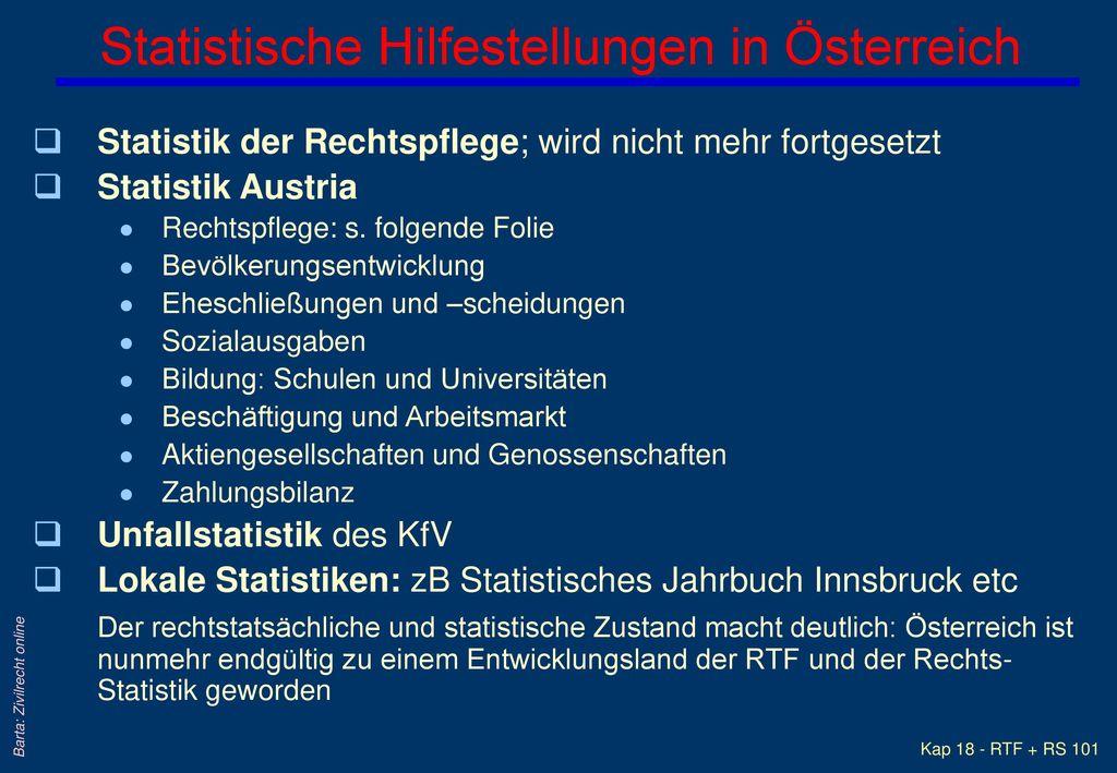 Statistische Hilfestellungen in Österreich