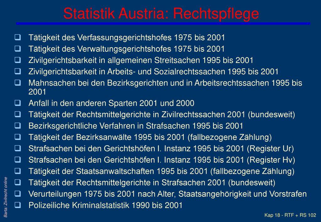Statistik Austria: Rechtspflege
