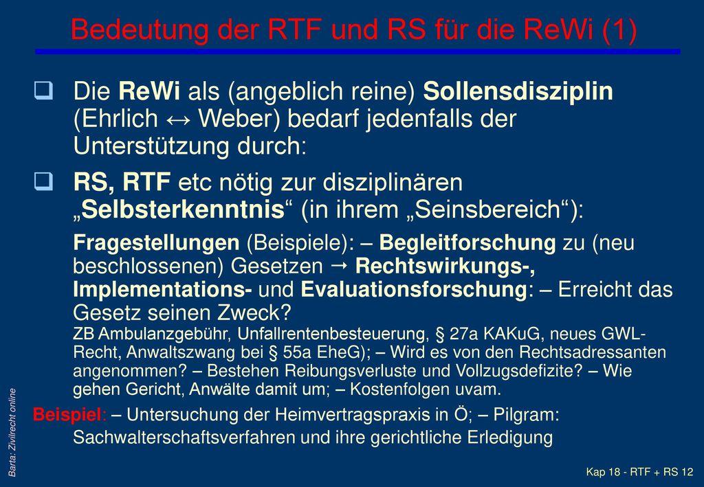 Bedeutung der RTF und RS für die ReWi (1)