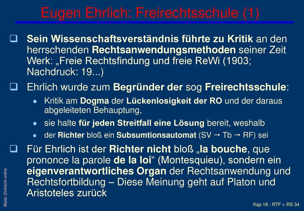 Eugen Ehrlich: Freirechtsschule (1)