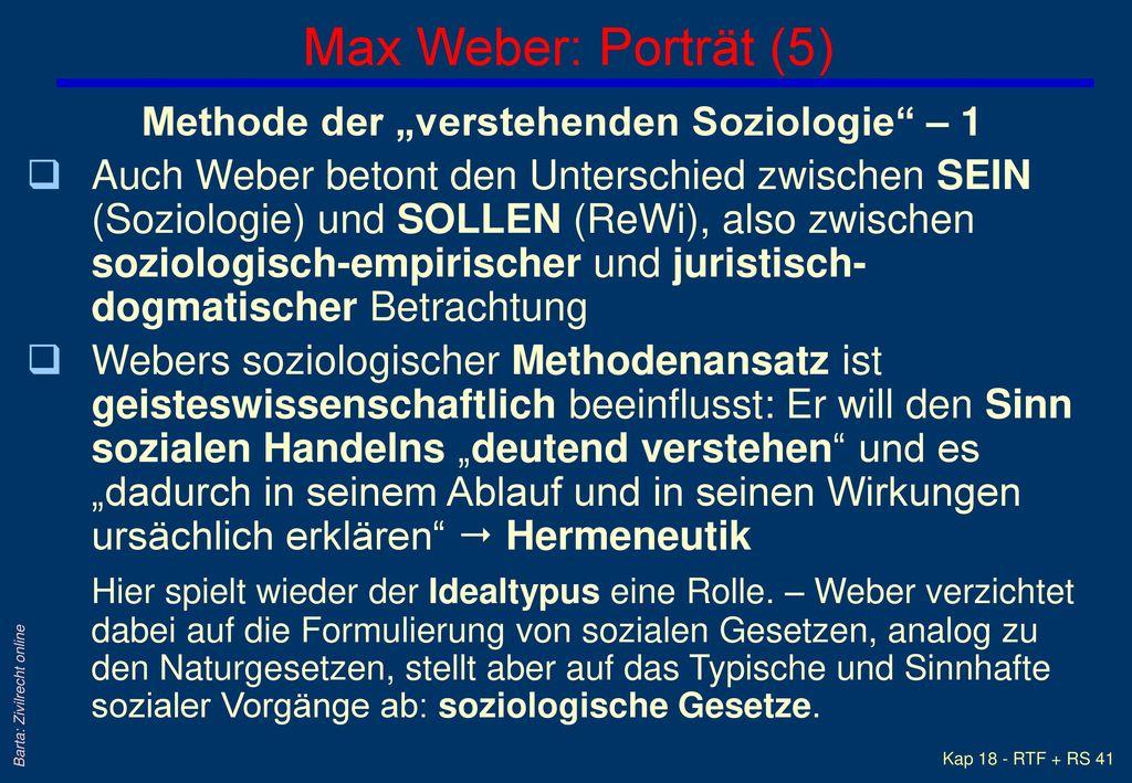 """Max Weber: Porträt (5) Methode der """"verstehenden Soziologie – 1"""