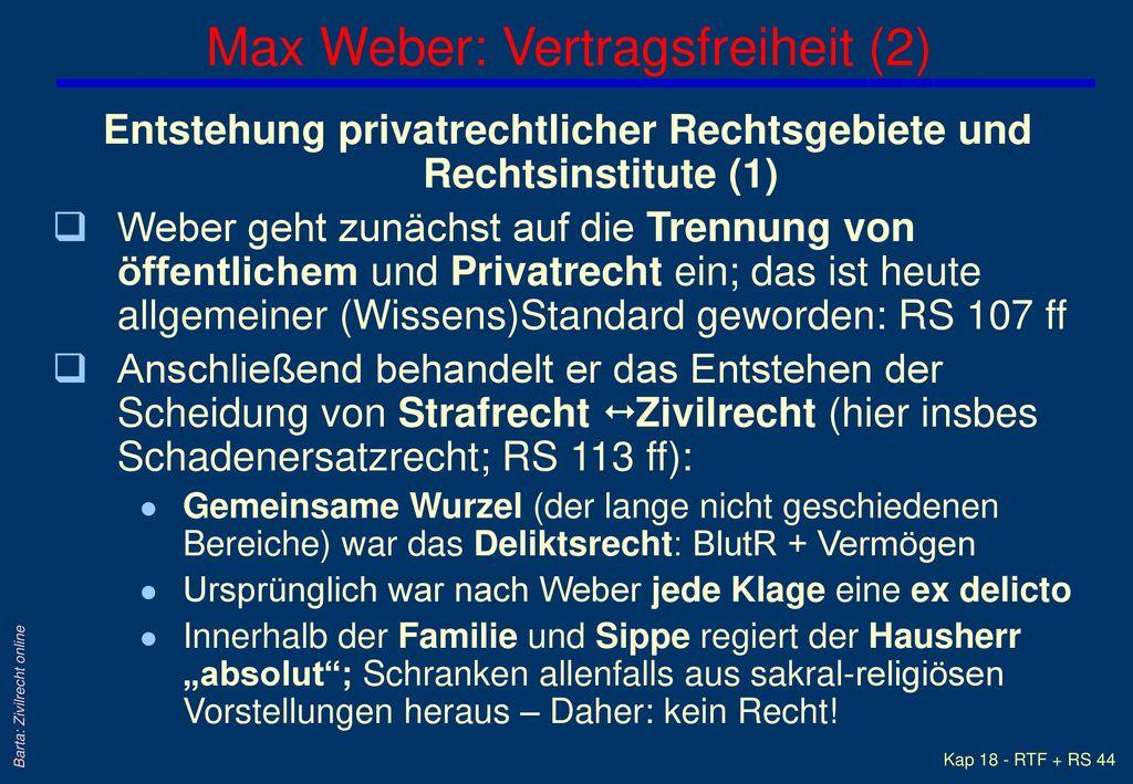 Max Weber: Vertragsfreiheit (2)