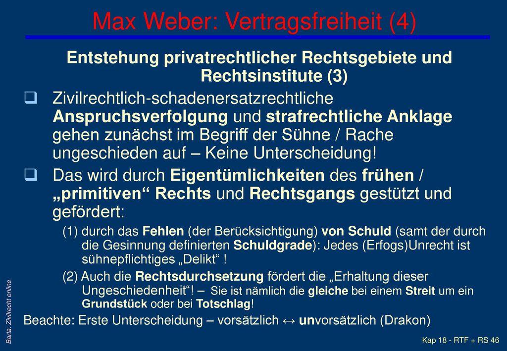 Max Weber: Vertragsfreiheit (4)