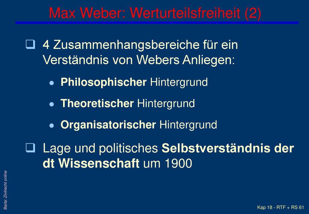 Max Weber: Werturteilsfreiheit (2)
