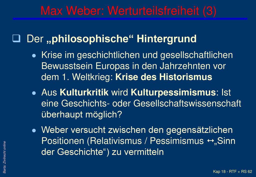 Max Weber: Werturteilsfreiheit (3)