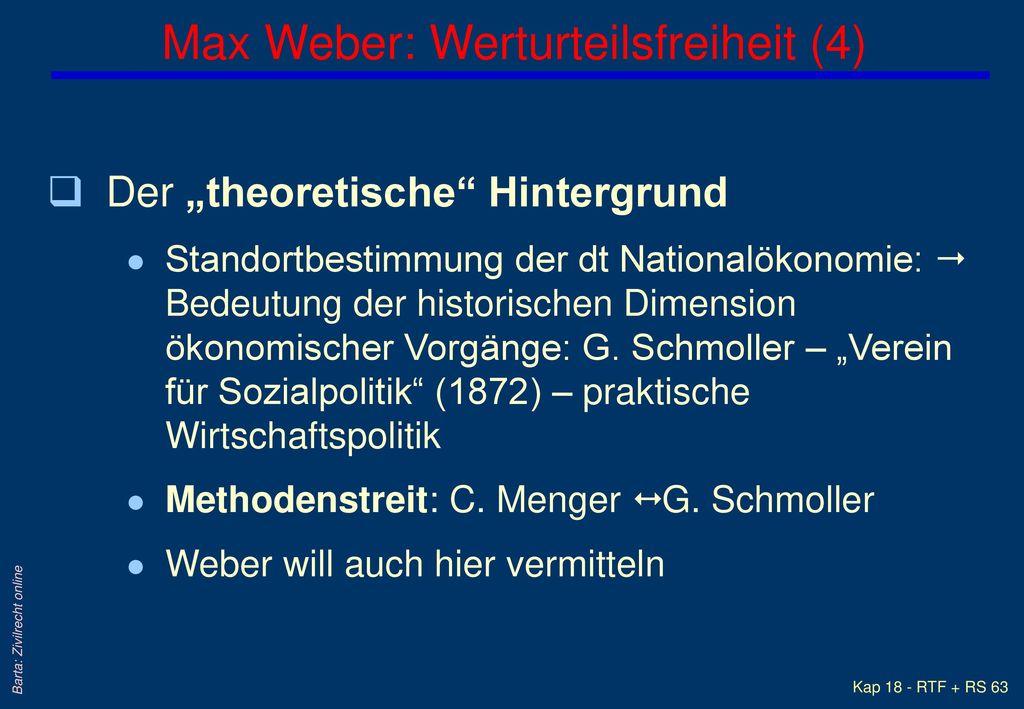 Max Weber: Werturteilsfreiheit (4)