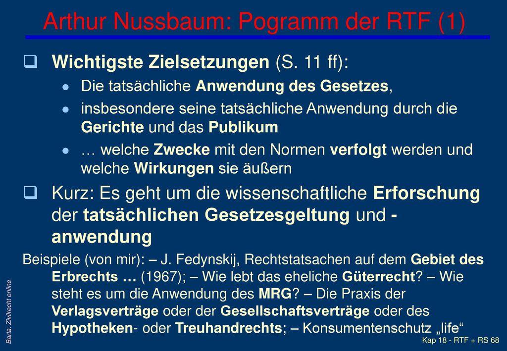 Arthur Nussbaum: Pogramm der RTF (1)