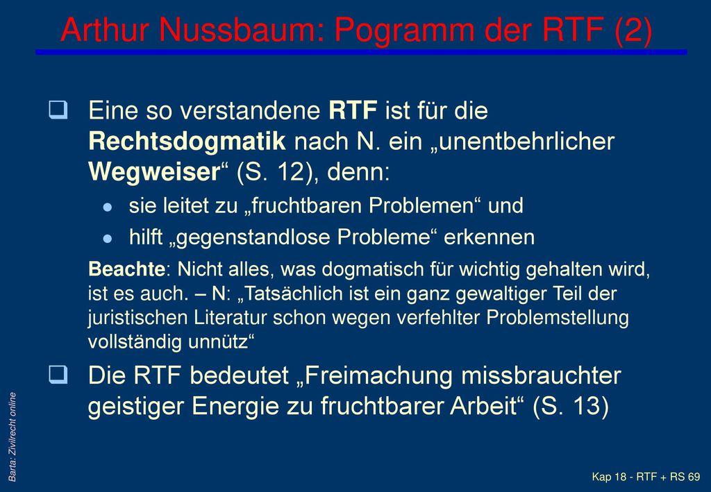 Arthur Nussbaum: Pogramm der RTF (2)