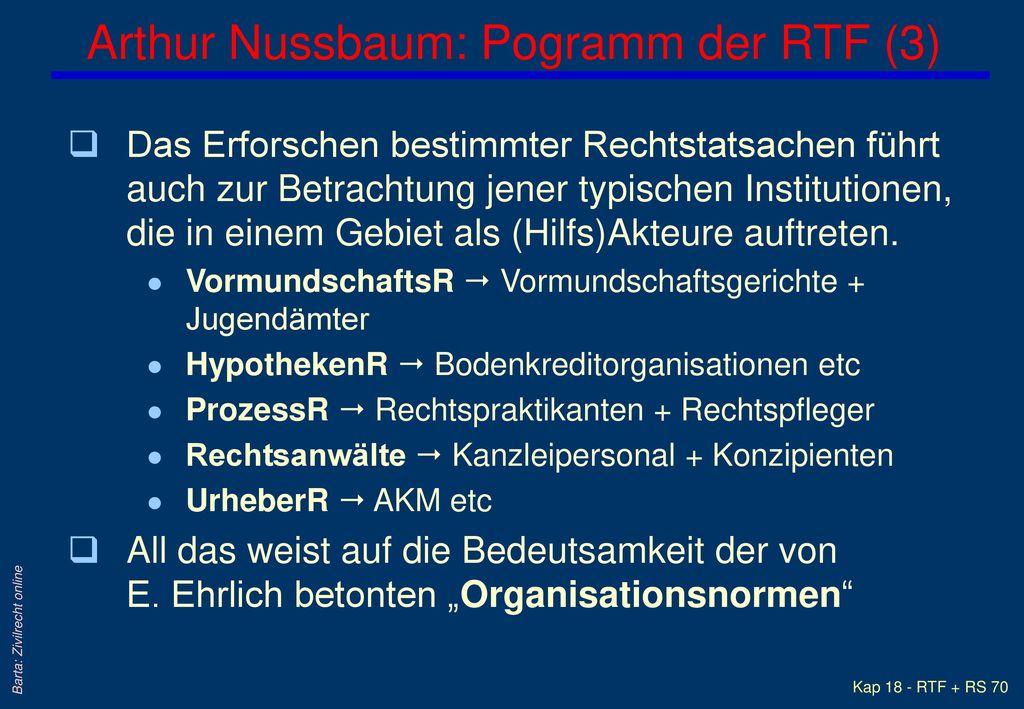 Arthur Nussbaum: Pogramm der RTF (3)