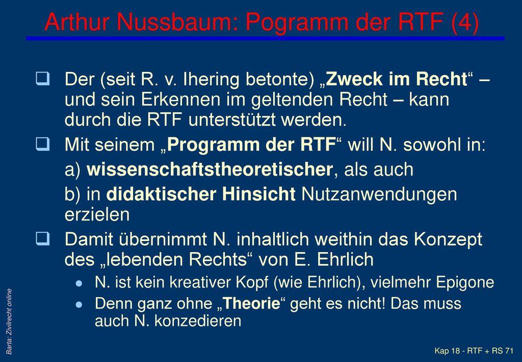 Arthur Nussbaum: Pogramm der RTF (4)