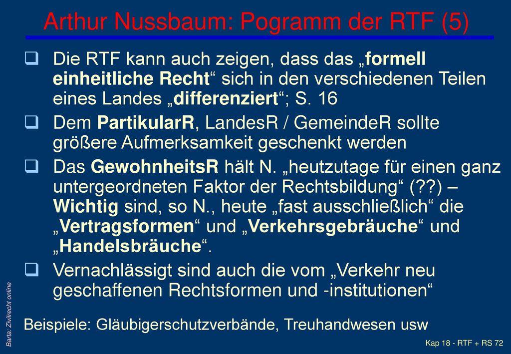 Arthur Nussbaum: Pogramm der RTF (5)